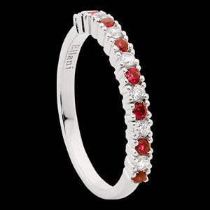 ELLANI STERLING SILVER RUBY RED CZ SINGLE ROW RING