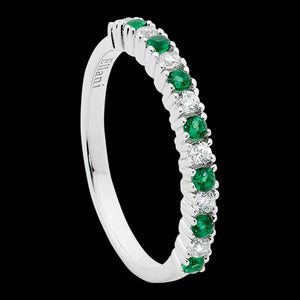 ELLANI STERLING SILVER EMERALD GREEN CZ SINGLE ROW RING
