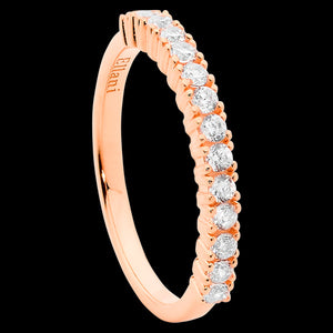 ELLANI STERLING SILVER ROSE GOLD CZ SINGLE ROW RING