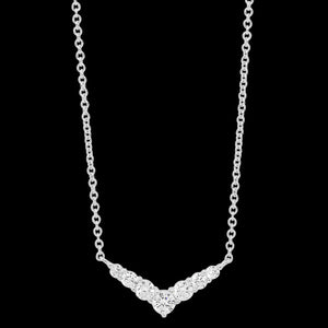 ELLANI STERLING SILVER CZ V-SHAPE NECKLACE