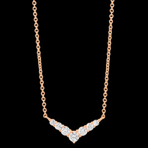 ELLANI STERLING SILVER ROSE GOLD CZ V-SHAPE NECKLACE