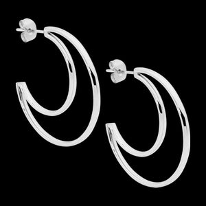 ELLANI STAINLESS STEEL 34MM CRESCENT MOON HOOP EARRINGS