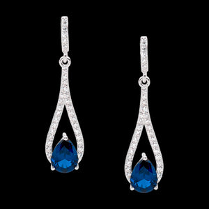 ELLANI STERLING SILVER OPEN TEARDROP LONDON BLUE SOLITAIRE CZ EARRINGS