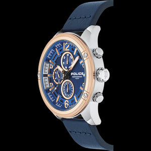 POLICE MEN'S MEDELLIN ROSE GOLD BLUE LEATHER WATCH - SIDE VIEW