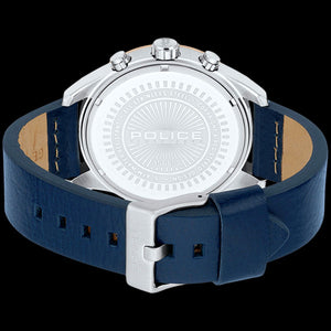 POLICE MEN'S MEDELLIN ROSE GOLD BLUE LEATHER WATCH - BACK VIEW