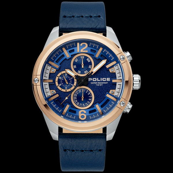 POLICE MEN'S MEDELLIN ROSE GOLD BLUE LEATHER WATCH