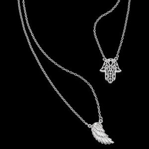 ENGELSRUFER SILVER WING HAND OF FATIMA CHARM NECKLACE - CLOSE UP