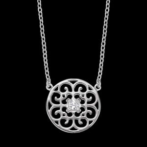 ENGELSRUFER SILVER ORNAMENT CIRCLE CZ NECKLACE