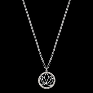 ENGELSRUFER SILVER LOTUS CIRCLE CZ NECKLACE