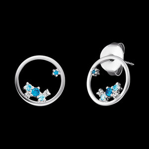 ENGELSRUFER SILVER COSMO CIRCLE BLUE CZ EARRINGS