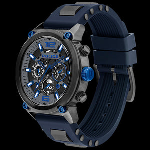 POLICE MEN'S ARMOR GUNMETAL DIAL BLUE SILICONE WATCH - ANGLE VIEW