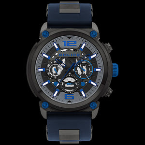 POLICE MEN'S ARMOR GUNMETAL DIAL BLUE SILICONE WATCH