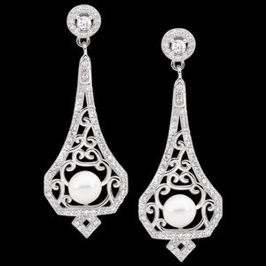 ELLANI STERLING SILVER FILIGREE PEARL DROP EARRINGS