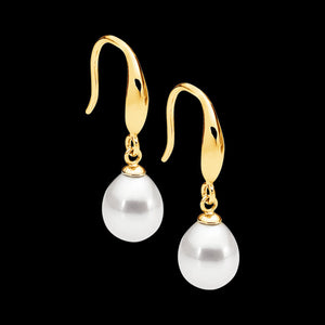 ELLANI STERLING SILVER GOLD DROP OVAL PEARL EARRINGS