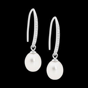 ELLANI STERLING SILVER PEARL CZ SHEPHERD'S HOOK EARRINGS