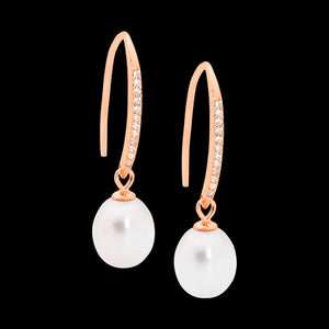 ELLANI STERLING SILVER ROSE GOLD PEARL CZ SHEPHERD'S HOOK EARRINGS