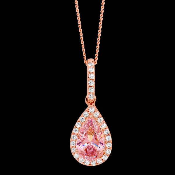 ELLANI STERLING SILVER ROSE GOLD PEAR MORGANITE CZ PAVE NECKLACE