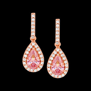 ELLANI STERLING SILVER ROSE GOLD PEAR MORGANITE CZ PAVE EARRINGS