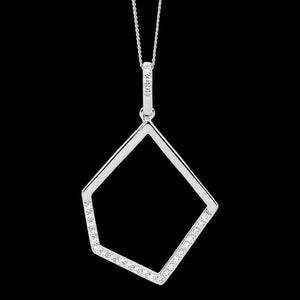 ELLANI STERLING SILVER OPEN GEOMETRIC CZ NECKLACE - CLOSE-UP