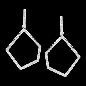 ELLANI STERLING SILVER OPEN GEOMETRIC CZ EARRINGS