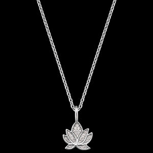 ENGELSRUFER SILVER LOTUS CZ NECKLACE - CLOSE-UP