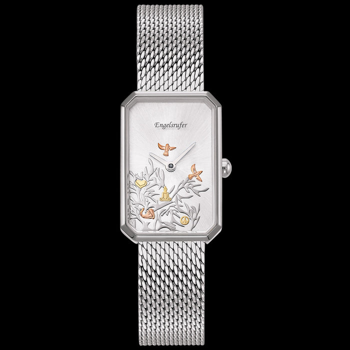 ENGELSRUFER TREE OF LIFE OBLONG SILVER MESH WATCH