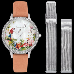 ENGELSRUFER PARADISE SILVER CZ SURROUND INTERCHANGEABLE WATCH - WITH SILVER MESH BAND