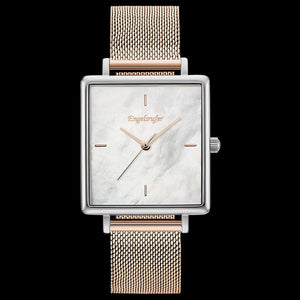 ENGELSRUFER MOTHER OF PEARL SQUARE SILVER ROSE GOLD MESH WATCH