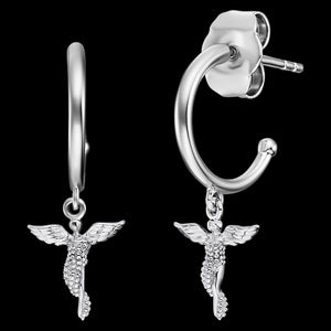 ENGELSRUFER SILVER LITTLE ANGEL HOOP EARRINGS