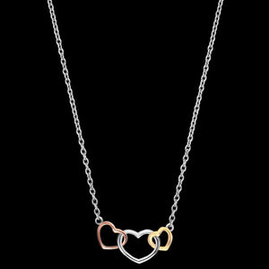 ENGELSRUFER SILVER THREE HEARTS INTERLOCKING NECKLACE