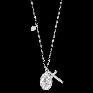 ENGELSRUFER SILVER VIRGIN MARY MARIA CROSS PEARL NECKLACE