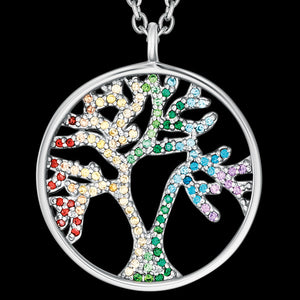 ENGELSRUFER SILVER TREE OF LIFE RAINBOW CZ NECKLACE - CLOSE-UP