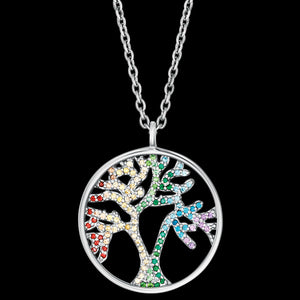 ENGELSRUFER SILVER TREE OF LIFE RAINBOW CZ NECKLACE