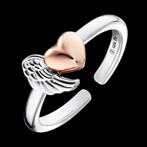 ENGELSRUFER SILVER ROSE GOLD HEARTWING RING