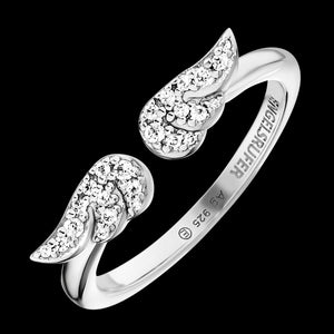 ENGELSRUFER SILVER TWIN CZ WING RING