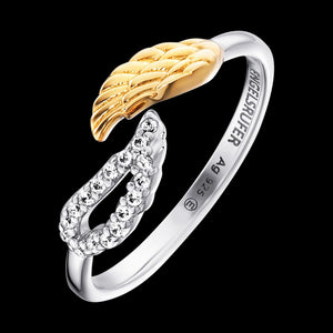 ENGELSRUFER SILVER GOLD DOUBLE CZ WING RING