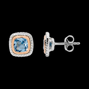 ELLANI STERLING SILVER BLUE SPINEL CUSHION GOLD SURROUND STUD EARRINGS