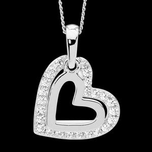 ELLANI STERLING SILVER DOUBLE HEART CZ SURROUND NECKLACE - CLOSE-UP