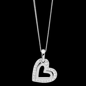 ELLANI STERLING SILVER DOUBLE HEART CZ SURROUND NECKLACE