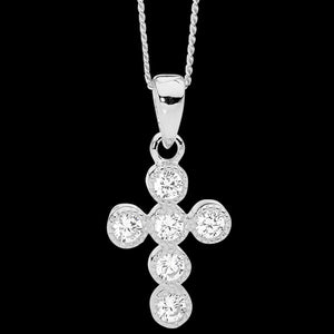 ELLANI STERLING SILVER 14MM CROWN SET CZ CROSS NECKLACE - CLOSE-UP