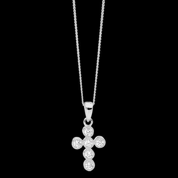 ELLANI STERLING SILVER 14MM CROWN SET CZ CROSS NECKLACE