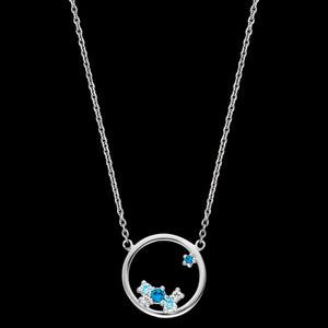 ENGELSRUFER SILVER COSMO CIRCLE BLUE CZ NECKLACE
