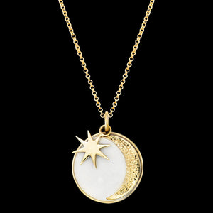 ENGELSRUFER GOLD SUN, MOON & STAR ENAMEL NECKLACE