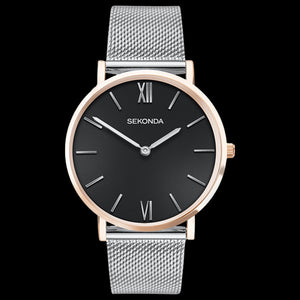 SEKONDA LADIES BLACK DIAL TWO-TONE MESH WATCH