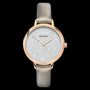 SEKONDA LADIES ROSE GOLD GLITTER DIAL TAUPE LEATHER WATCH