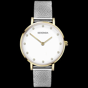 SEKONDA LADIES GEM HALO DIAL TWO-TONE MESH WATCH