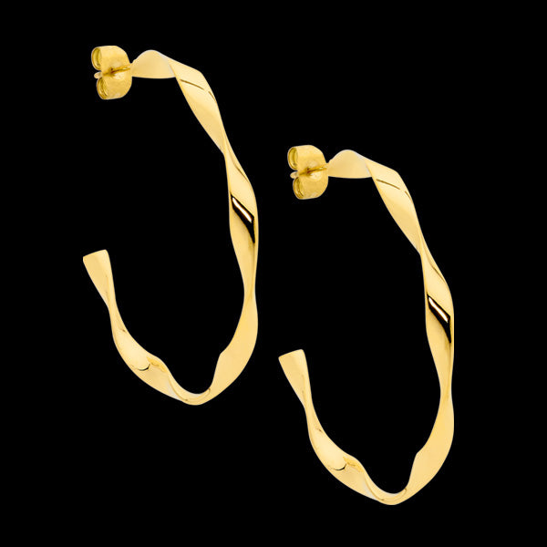 ELLANI STAINLESS STEEL GOLD TWIST HOOP EARRINGS