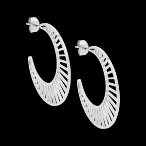 ELLANI STAINLESS STEEL 35MM CRESCENT LATTICE HOOP EARRINGS