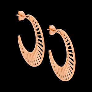 ELLANI STAINLESS STEEL GOLD 35MM CRESCENT LATTICE HOOP EARRINGS