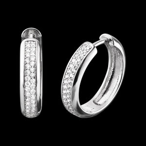 ENGELSRUFER SILVER NINA 21MM HOOP CZ EARRINGS